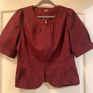 Halogen Burgundy peplum top size large.